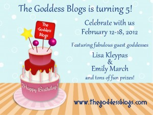 A birthday cake on a table with information on The Goddess Blogs' birthday celebration event
