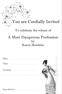 A Regency England themed invitation available for readers to download and send out