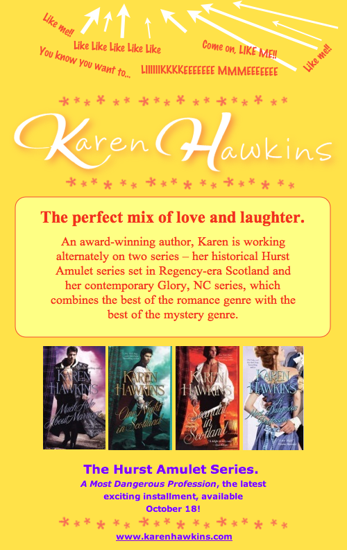 Facebook landing page for Karen Hawkins
