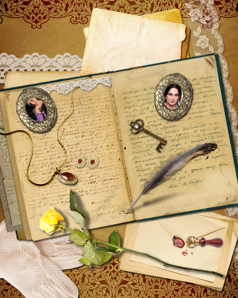 Scrapbook page from The Secrets of Hadley Green by Julia London