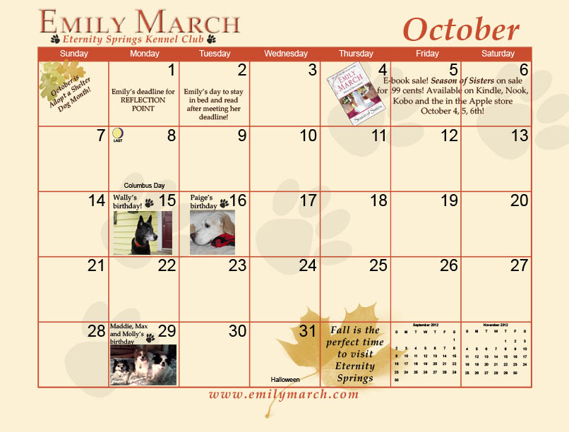 Eternity Springs Kennel Club calendar for Emily March