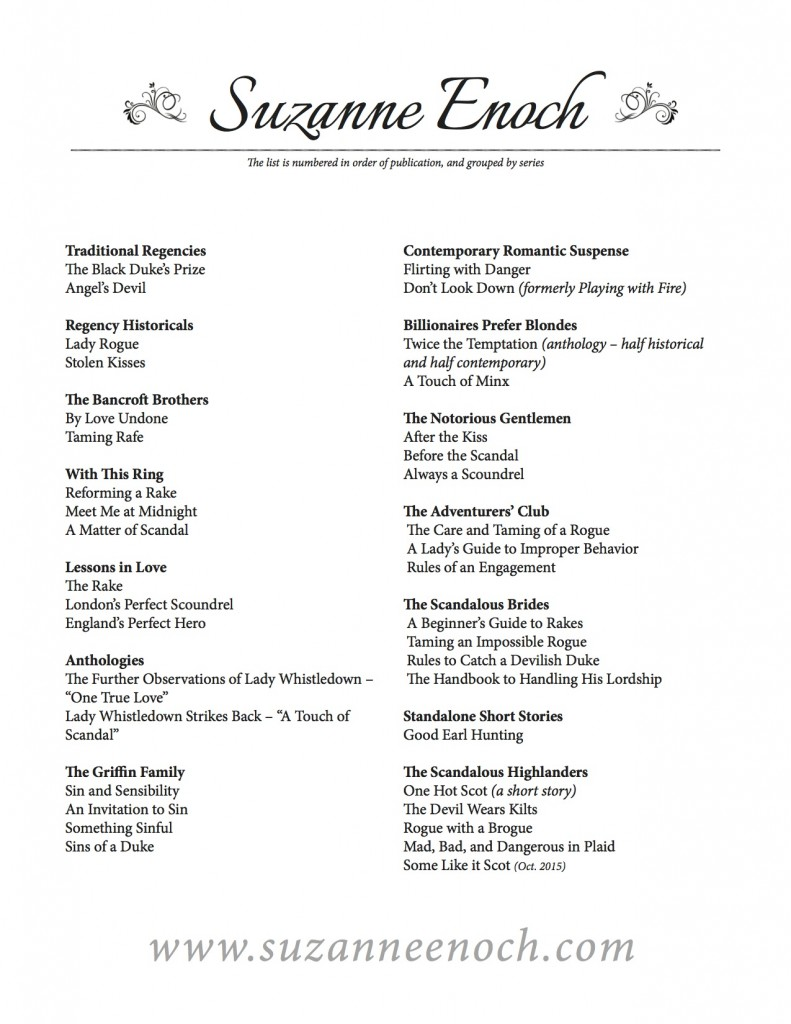 Printable Book list for Suzanne Enoch